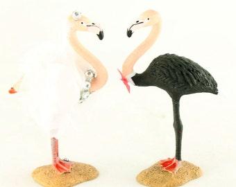 Custom Flamingo Bride & Groom Wedding Cake Toppers