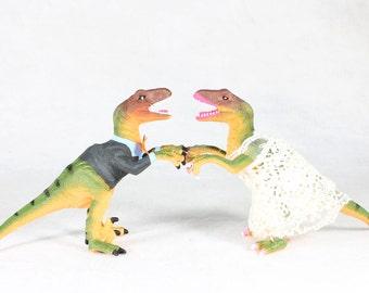 Custom Bride & Groom Wedding Cake Toppers - Raptors