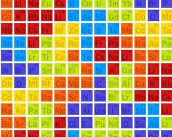 Periodic Table - Science Chemistry Beaker Molecule Nerdy Geek Fabric - Quilting Cotton; [[by the half yard]]