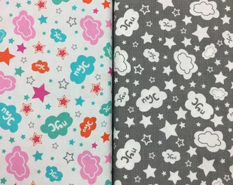 NYC - New York City with Stars and Clouds - Quilting Cotton  [[by the half yard]]