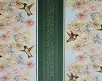Vertical Border Print Garden Melodies Bird Fabric - 100% Cotton [[by the half yard]]