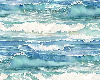 Ocean Waves - Nautical/Ocean/Summer/Shore Themed - Quilting Cotton [[by the half yard]]