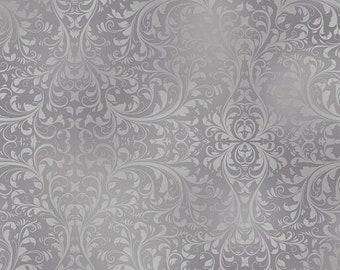Gray Swirl Damask Cotton Fabric [[by the half yard]]