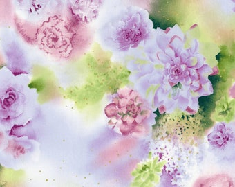 Pastel Watercolor Flowers Cotton Fabric [[by the half yard]]