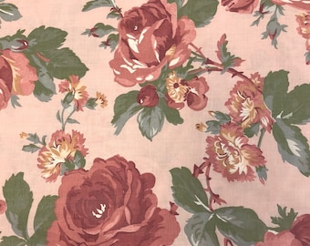 Pink Roses/Flowers on Peach Fabric - 100% Quilting Cotton Fabric  [[by the half yard]]
