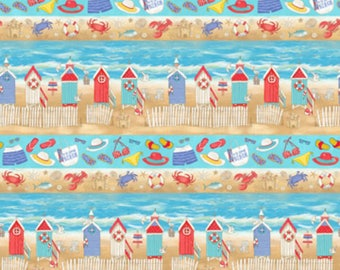 Beach Themed Fabric - horizontal Summer/Shore/Lighthouse - Quilting Cotton [[by the half yard]]