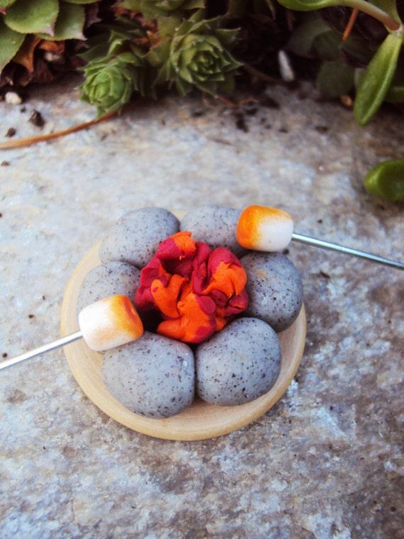 Camping de hoyo de fuego miniatura para jardín de hadas