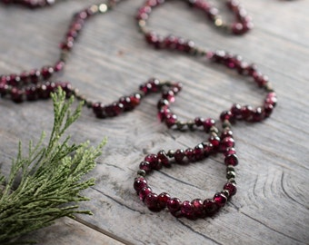 Garnet Necklace, Long Garnet Necklace, Long Red Gemstone Necklace, Hand Knotted Silk Cord, Winter Necklace, Handmade Necklace