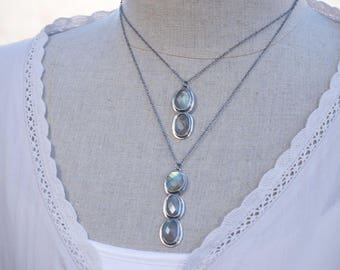 Jewelry, Necklace, Labradorite Necklace, Silversmith Necklace, Double Strand Labradorite Necklace, Bezel Set Labradorite Silver Necklace