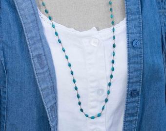 Long Turquoise Necklace, Knotted Turquoise Necklace, Turquoise Beaded Necklace, Hand Knotted Silk Necklace, Turquoise Layering Neckalce