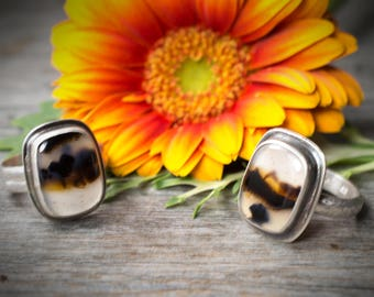 Montana Agate Ring, Metalsmith Ring, Silversmith Ring, Montana Agate Statement Ring, Noduri Ring, Silver and Agate Ring, Dendrite Agate Ring