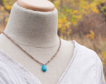 Turquoise Pendant Necklace, Turquoise and Moonstone Necklace, Peach Moonstone Beads,  Hand Knotted Necklace, Knotted Gemstone Necklace