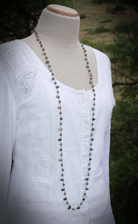 Dark Pearl Necklace Hand Knotted Silk Pearl Necklace Long Pearl Necklace Sparkley Pearl Necklace Bronze Color Pearl And Pyrite Nn0414