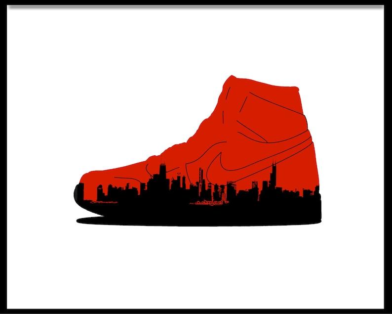 1838c18ac9b5 Air Jordan 1 Chicago Skyline Sneaker Art Digital Print
