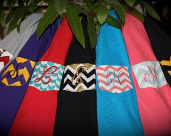 Long Sleeved Monogrammed Pocket T-Shirt, Tee, Tshirt, the Chevron Collection