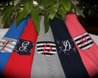 Monogrammed Pocket T-Shirt, Tee, Tshirt, the Anchors & Stripes Collection