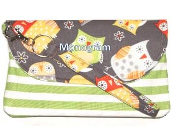 Wristlet Monogrammed Wallet Cell Phone Holder
