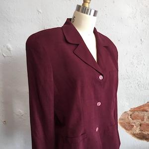 Vtg Red Wool Blazer Jacket Career One Button Zip Detail Norman McNaugton Wms M 8