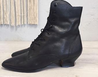 6dd73a06881657 VTG schwarz Schnür Stiefel Oma alte West viktorianischen Steampunk  Edwardian Sam Libby 9