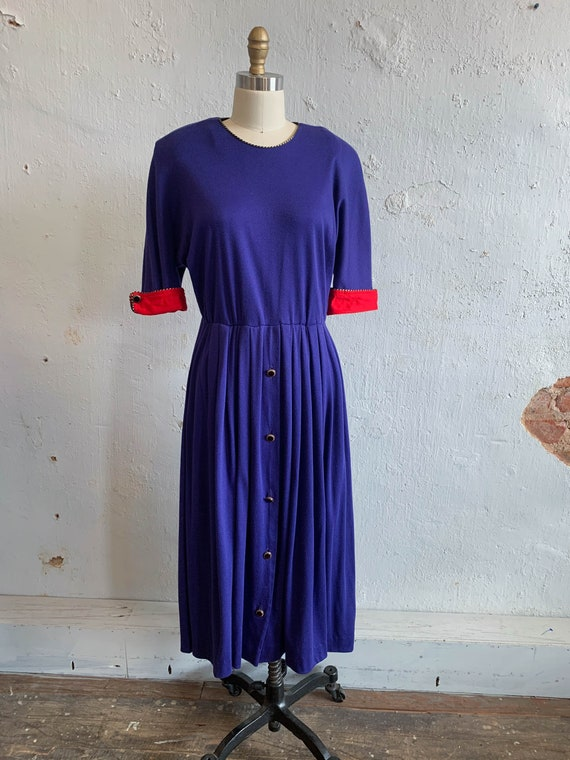 80s Raglan Sleeve Dress Cotton Knit 40s Styled Fit
