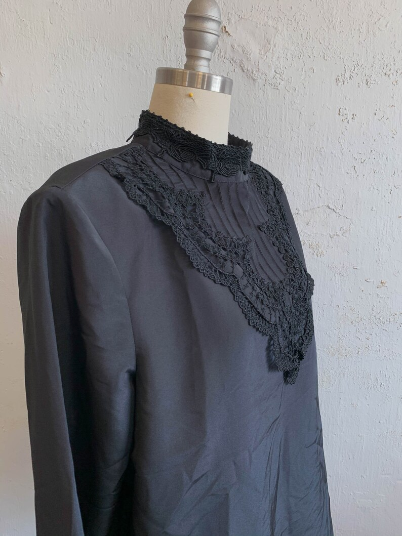 Vtg Secretary Black Blouse Career Top Edwardian Style Lace Bodice Pleats 80s 16P
