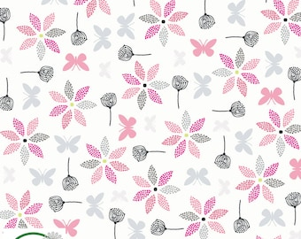 Bunny /& Snail Pink Hollies Flowers Quilting Craft Cotton Fabric Spring