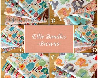 ELLIE BUNDLES Browns Novelty Quilting Craft Cotton Fabric Makower Elephant Fun