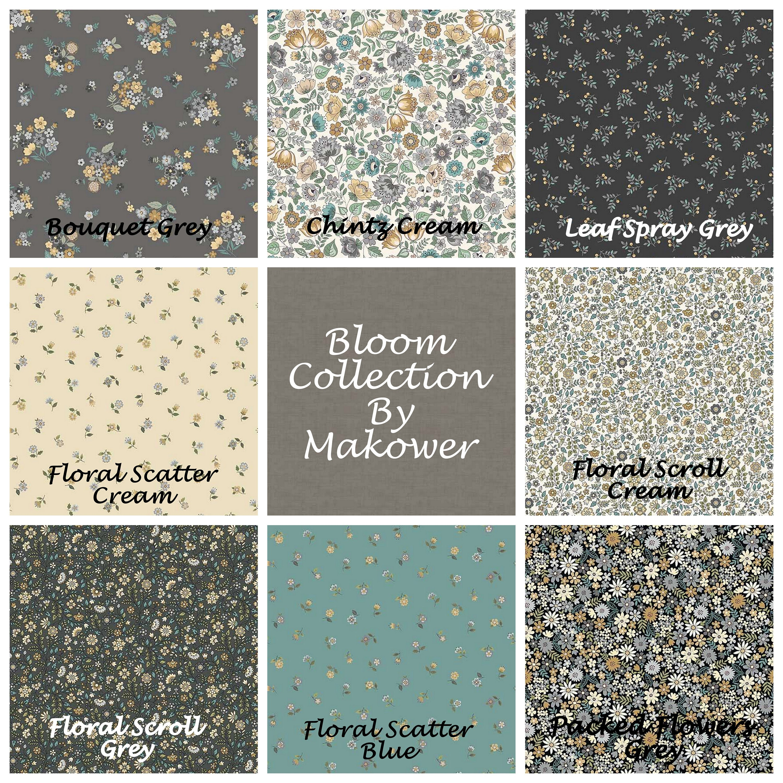 DREAM BUNDLES Makower 100/% Cotton Quilting Fabric Flowers Floral Pink Grey