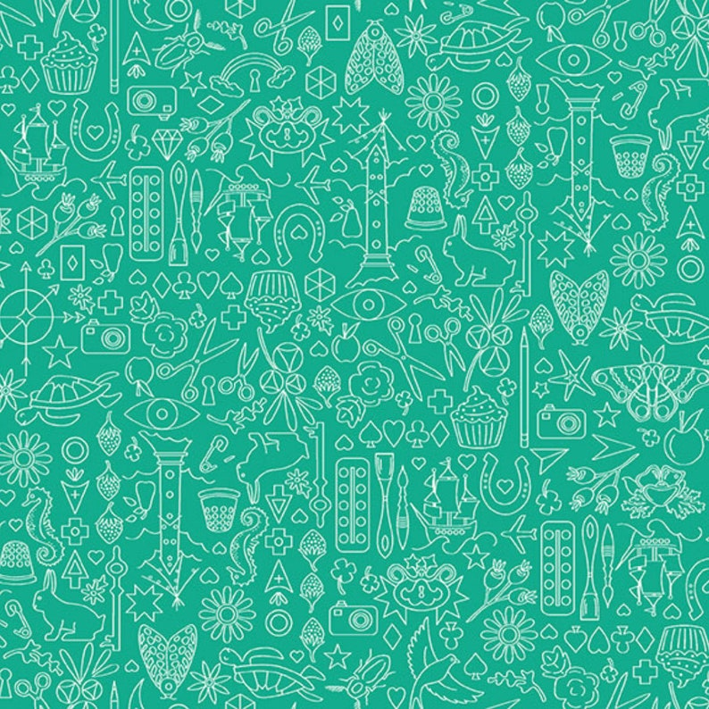 Sun Print 2019 Green Doodle Quilting Cotton Fabric Blender By Etsy