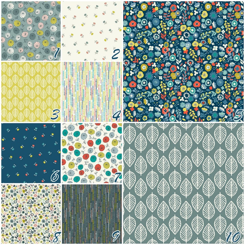 Fat Quarter Sew Retro Sewing Pattern Teal Green Cotton Quilting Fabric Makower