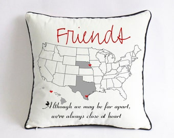 Long Distance BFF Pillow Case Graduation Gift For Best Friend Birthday Although We May Be Far Apartwere Always Close At Heart