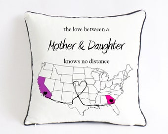 Long Distance Mom Daughter Pillow Birthday Gift Mothers Day From Gifts For Mother Love Knows No