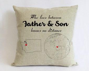 Long distance father son pillow burlap