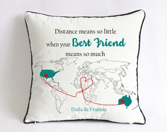 Long Distance Best Friend Pillow Cover Gift For Birthday Means So Little When Much