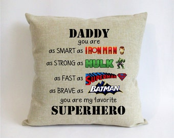 Superhero Father Son Gift First Fathers Day From For Dad Iron Manhulksuper Manbat Man Pillowcase Birthday