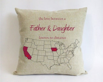 Long Distance Father Daughter Pillow Fathers Day Gift From Dad Birthday Stepdad Love Knows No