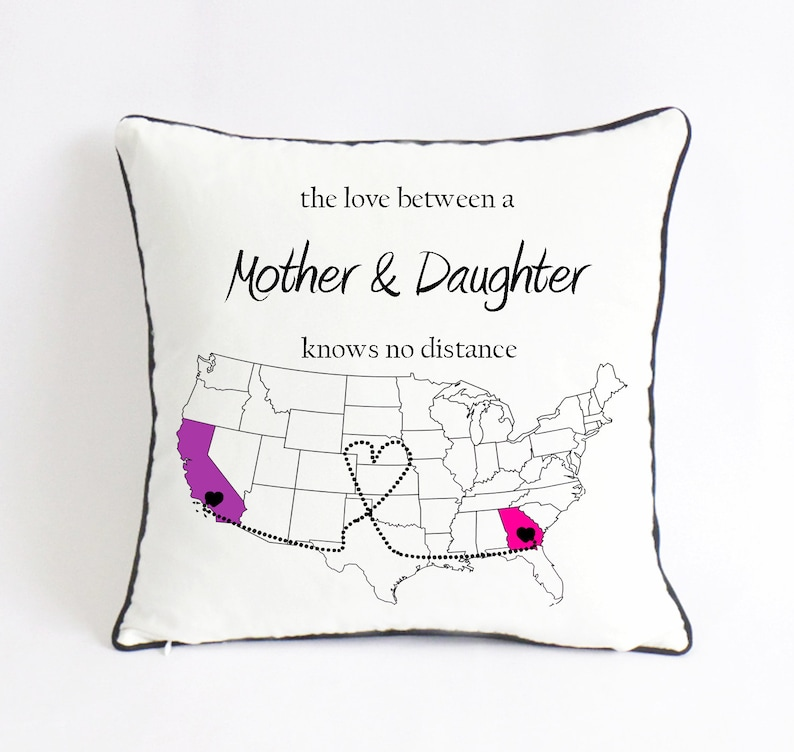 Long Distance Mom Daughter Pillow Birthday Gift Mothers