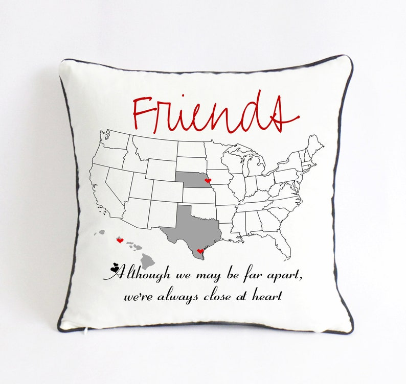 Long Distance BFF Pillow Friend Reunion Gift Graduation