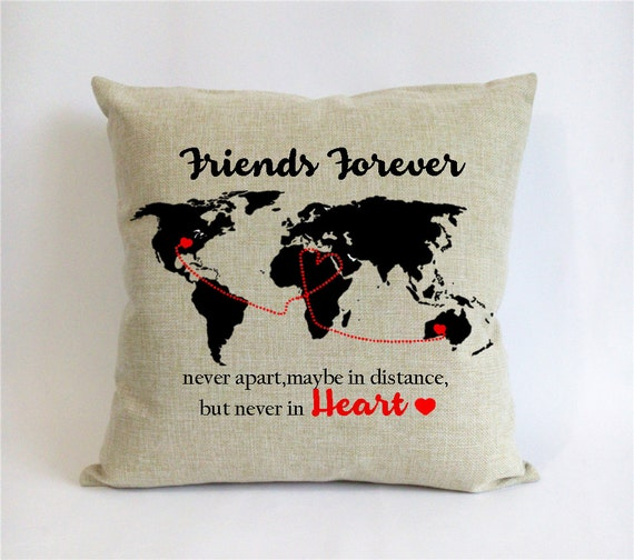 Long distance friend pillow sham bff go away gift world map etsy image 0 gumiabroncs Choice Image