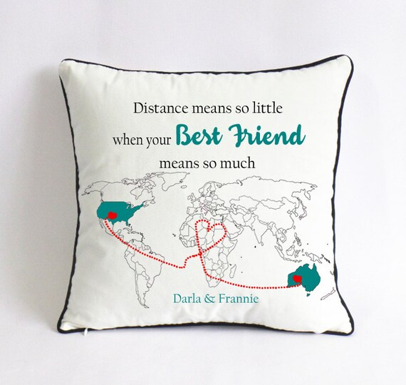 Long Distance Best Friend Pillow Cover Gift For