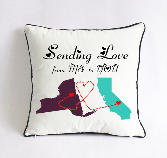 California New York State Long Distance Relationship Pillow