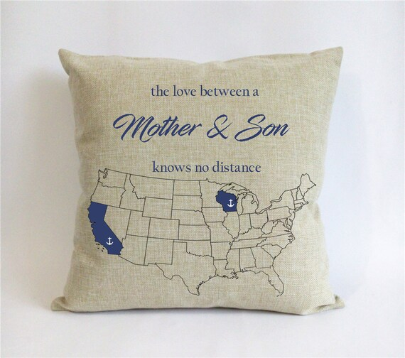 Long Distance Mother Son Pillow Case Mothers Day Gift From