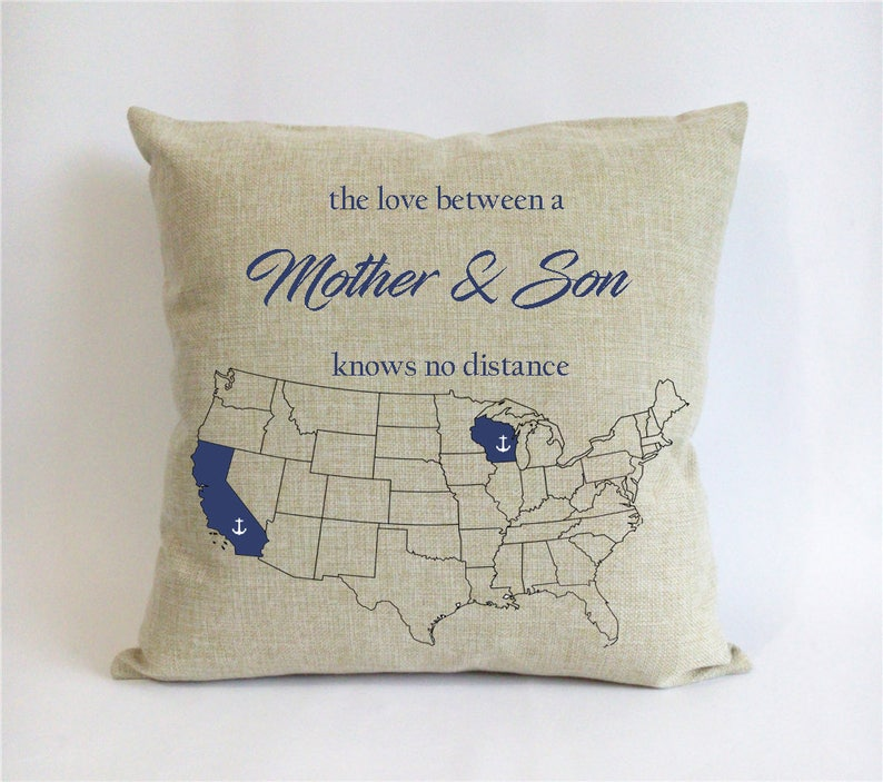 Long Distance Mother Son Pillow Mothers Day Gift From
