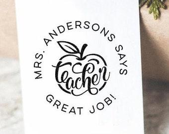 Custom Teacher Gift Idea Custom Great Job Apple Teacher Classroom Stamp Personalized Teacher Appreciation Day Gift Customized Back To School