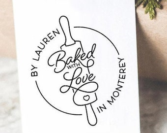 Baked With Love Custom Stamp Rubber Or Self Inking Stamp Personalized Cutom Name Kitchen Stamp Wedding Favor Stamp Baked Goods Stamp Cookies