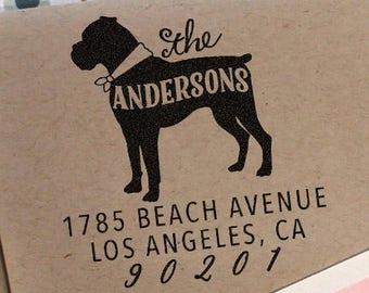 Custom Address Stamp - Boxer Dog Return Address Stamp, christmas gift, birthday gift, dog return address stamp, boxer dog, gift idea
