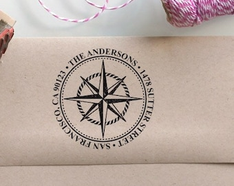 Custom nautical Address Rubber Stamp for return address stamping with compass rose, perfect gift for holidays, housewarming and weddings
