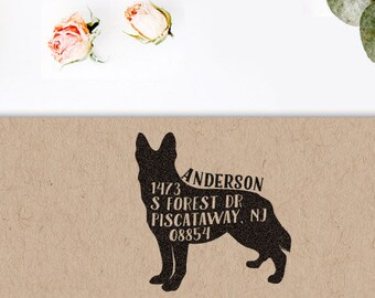 Custom Address Stamp, Return address stamp, German Shepherd Dog Address Stamp, Return Address Stamp, Housewarming Gift, Dog Lover Gift Idea