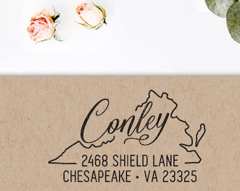 Custom Virginia State Return Address Stamp, perfect gift for holidays, housewarming parties and weddings or as Business Card