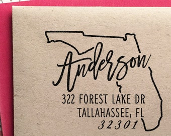 Custom Florida State Return Address Stamp, perfect gift for holidays, housewarming parties and weddings or as Business Card
